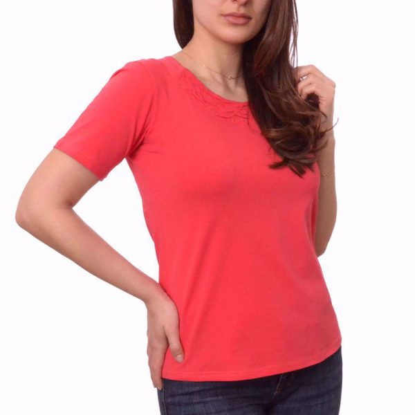 дамска блуза памук къс ръкав