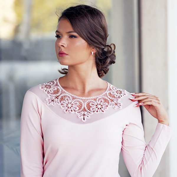 long sleeve top with tulle embroidered lace