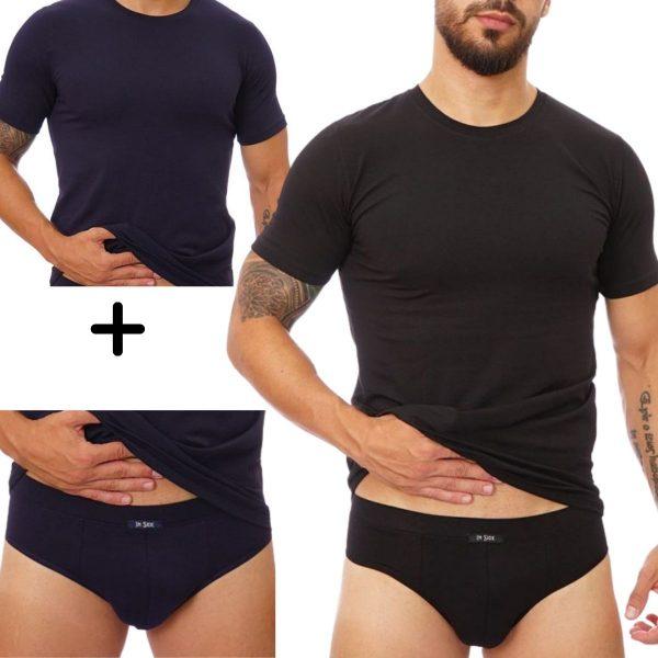Antibacterial mens T-shirts+briefs
